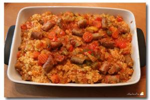 Risotto au Safran de Cotchia aux saucisses et aux poivrons