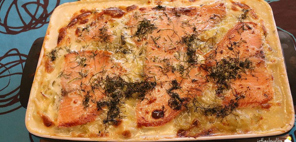 Lasagne aux deux saumons et aux poireaux