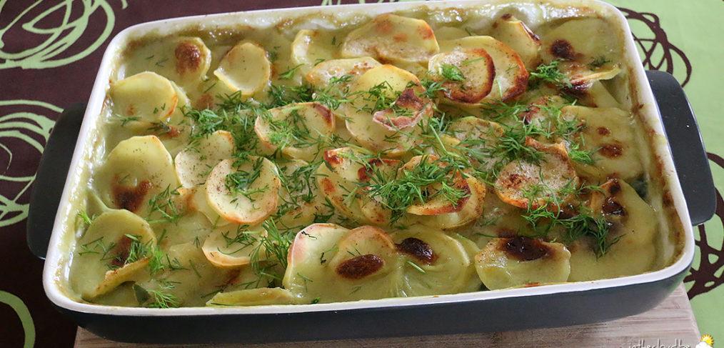 Gratin de pommes de terre, saumon et épinards