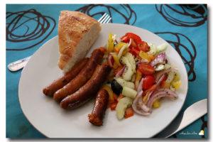 Salade Grecque, merguez, pain turque