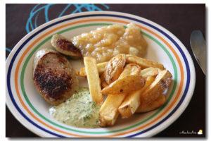 Boudin compote frites façon Jean-Phi, sauce tartare