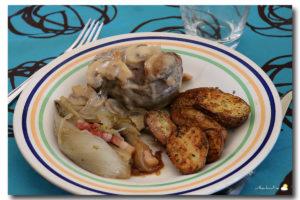 Paupiette de boeuf aux champignons, chicons braisés, pommes au four