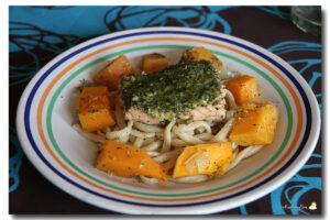 Saumon au pesto vert et à la courge Butternut