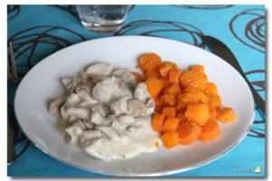 Poulet crème aux champignons, carottes