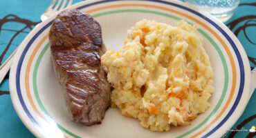 Steak, potée céleri-rave carottes