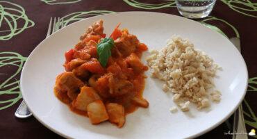 Poulet basquaise, riz complet